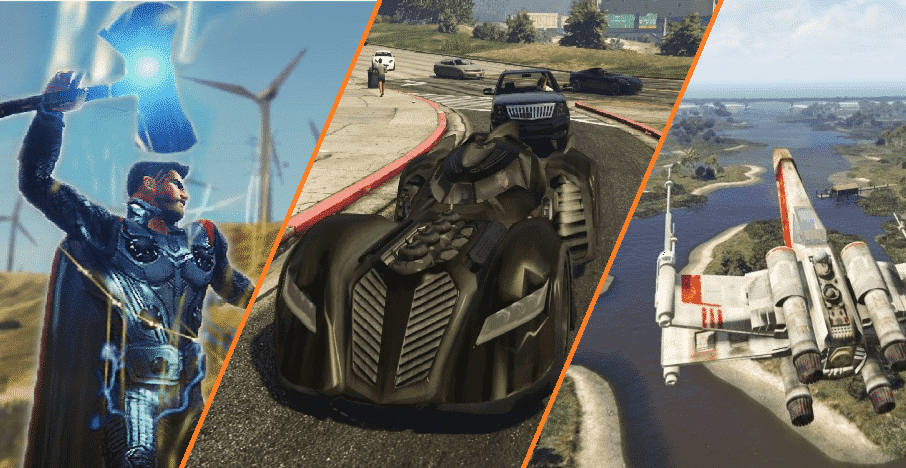 The Ultimate Modding Guide. An image of GTA mods for: Thor, Batman, and Luke Skywalker.