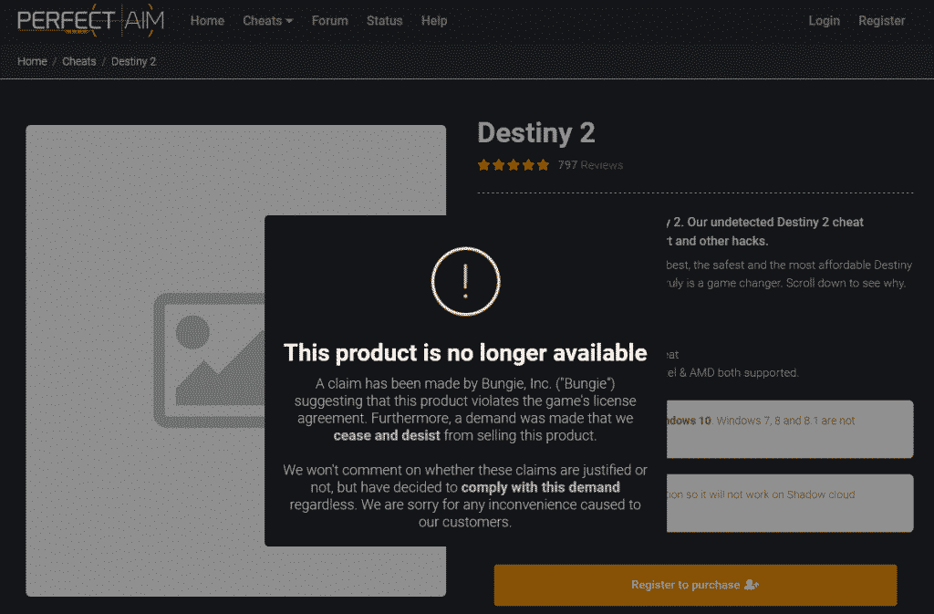 PerfectAim cheating software for Destiny 2