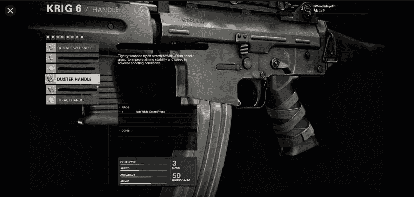 Duster Handle attachment on KRIG 6 Assault Rifle