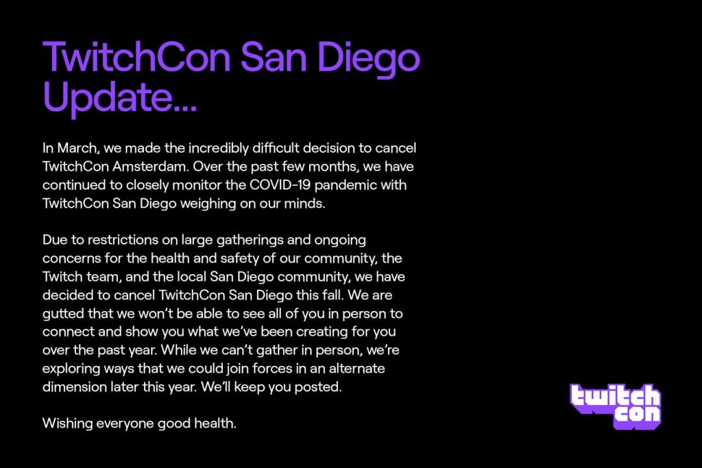 TwitchCon Cancelled