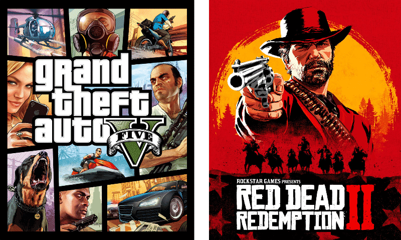 GTA V and Red Dead Redemption 2 Cover Art
