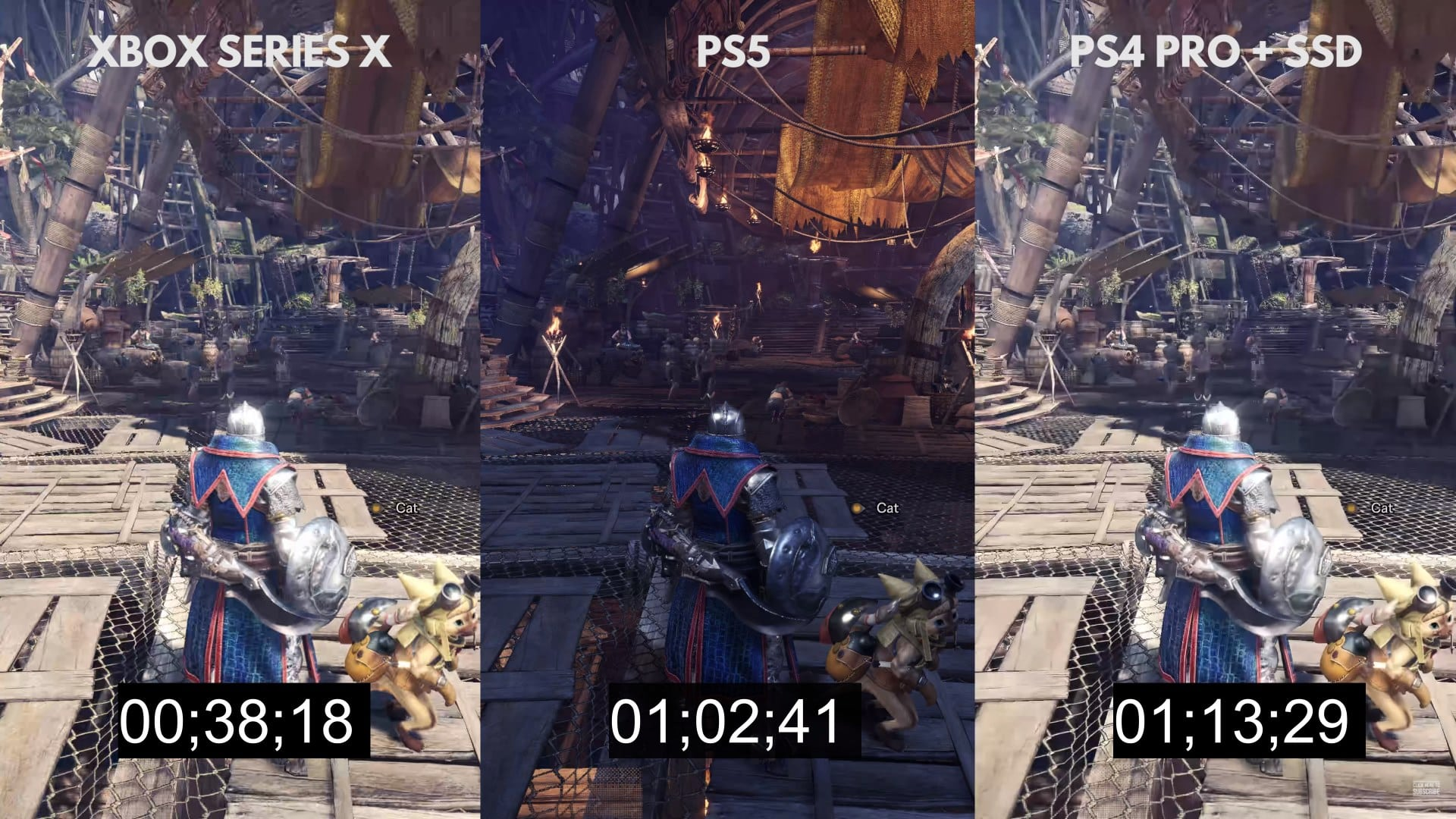 Boot up times for MHW for XBSX, PS5, and PS4