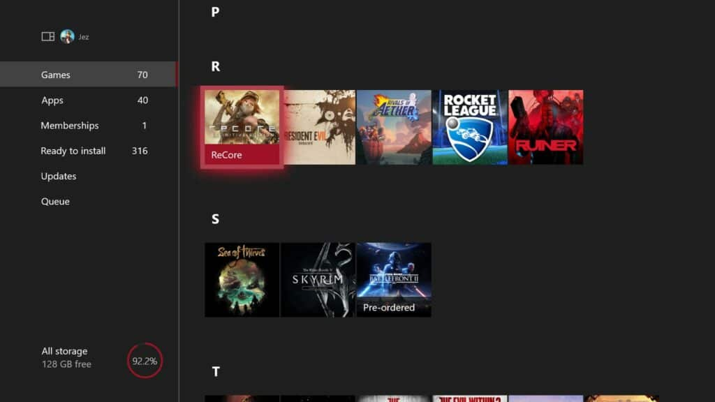Games & Apps screen on Xbox
