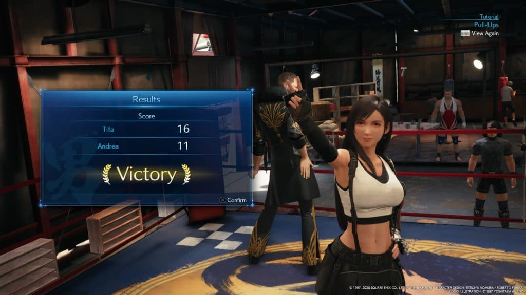 Final Fantasy VII Remake Minigame. Tifa wins a pull-up competition in one of the minigames.