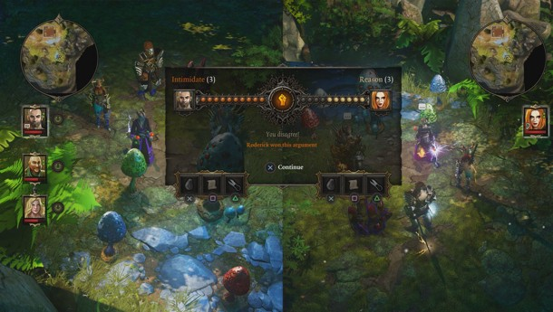 Screenshot of split-screen and online gameplay in Divinity Original Sin