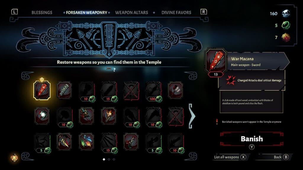curse of the dead gods weapons