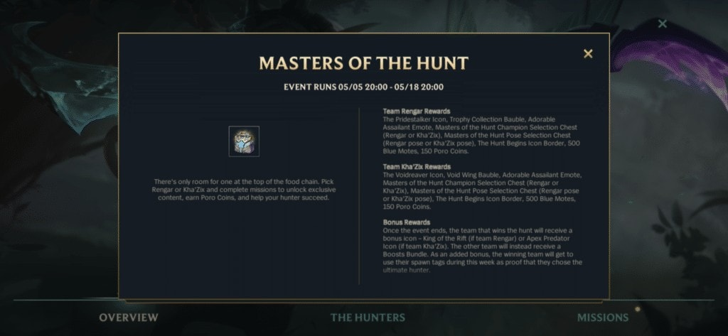 masters of the hunt rewards