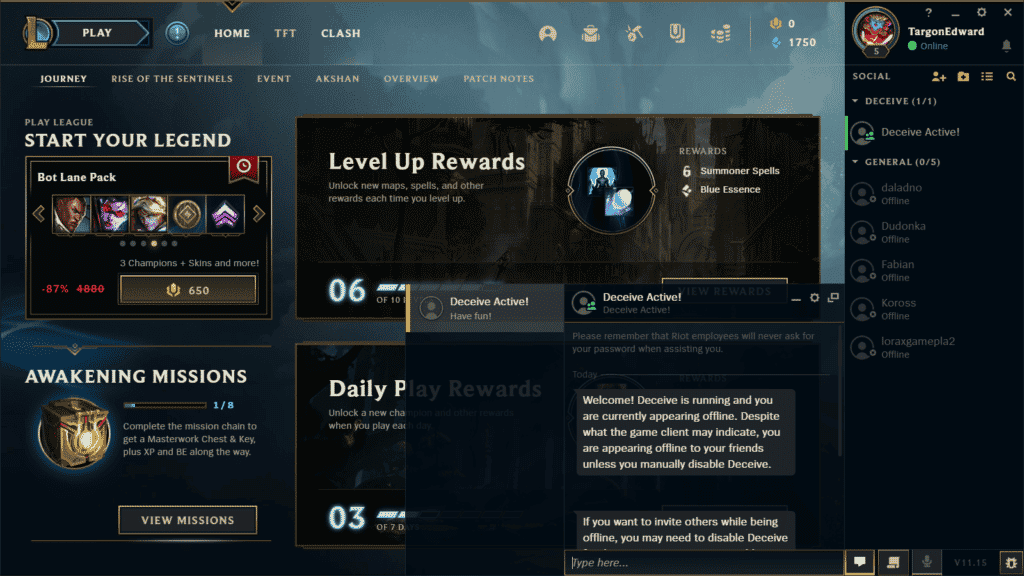League of Legends with Deceive Active