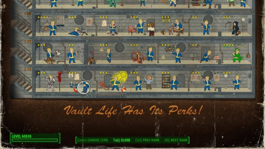 Screenshot of Fallout 4 Perks page with Max level of 65,535 and all perks unlocked