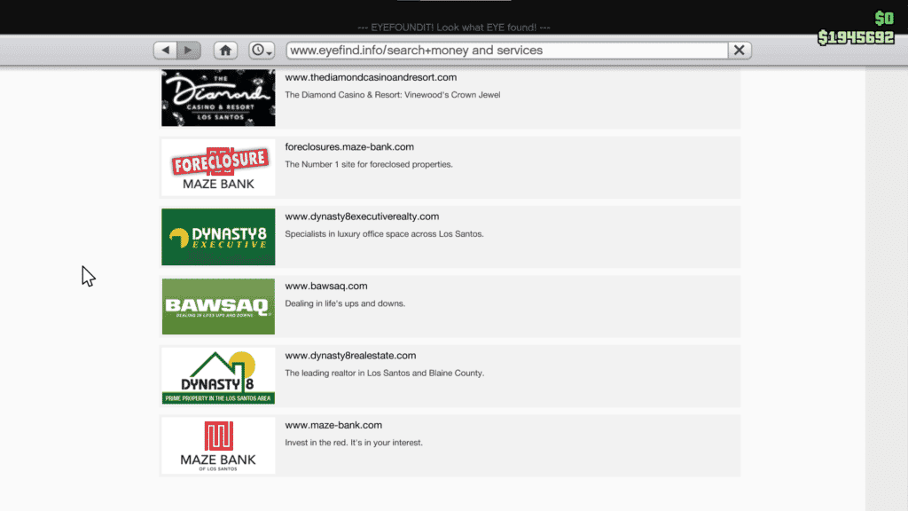 All the websites in GTA 5 that offer properties for sale. Foreclosures, Dynosty 8 and Dynasty Executive.